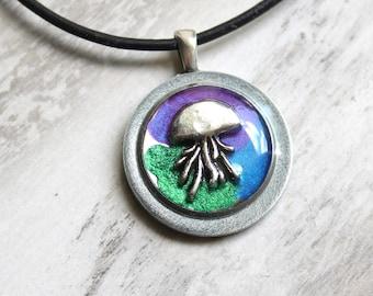 jellyfish necklace, ocean pendant