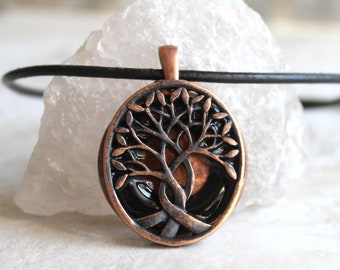 black tree of life necklace, nature necklace, boyfriend gift, celtic tree, mens jewelry, mens necklace, unique gift, gift for him