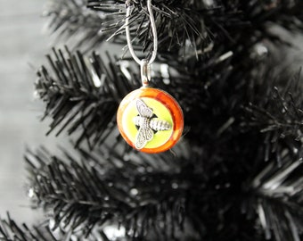bee Christmas tree ornament, orange, table top tree ornaments
