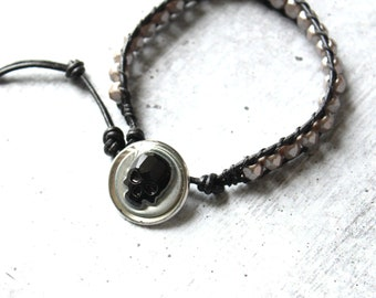 skull bracelet with black crystal skull, Czech glass beads, leather cord, unique gift, mens jewelry