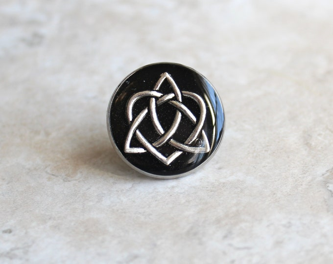 black celtic knot tie tack, lapel pin, triquetra tie tack, celtic jewelry, mens jewelry, wedding party, groomsmen gift, groom gift