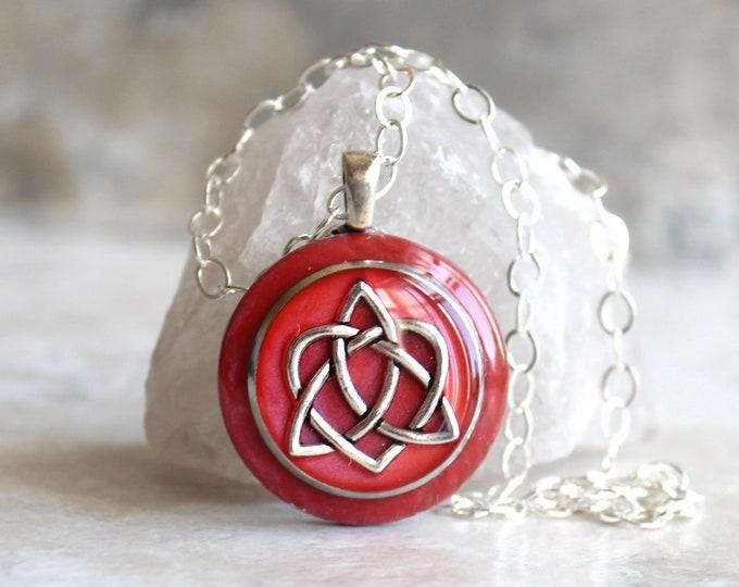 rose Celtic sister knot necklace, celtic knot jewelry, triquetra necklace, druid jewelry, sister gift, best friend, unique gift