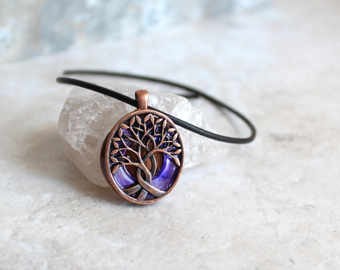 purple tree of life necklace, Nature necklace, Boyfriend gift, Celtic tree, Wiccan jewelry, Druid necklace, Mens jewelry, Mens necklace
