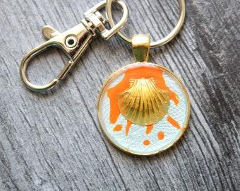 seashell keyring, ocean keychain, cute gift, nature keychain, backpack ring