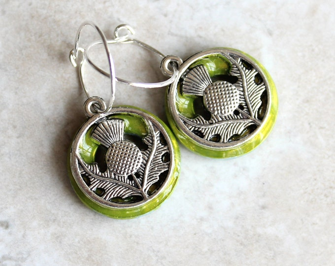 Scottish thistle earrings on sterling silver hoops