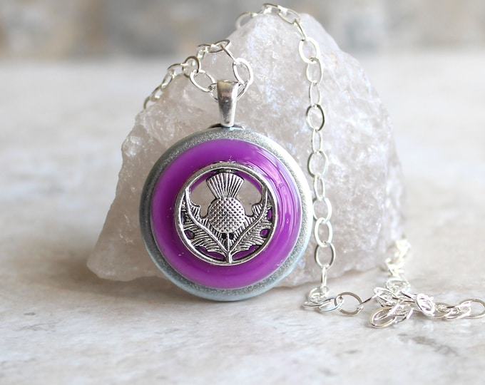 purple Scottish thistle necklace, glow in the dark, Scotland jewelry, unique gift, celtic thistle, nature necklace, scotland lover