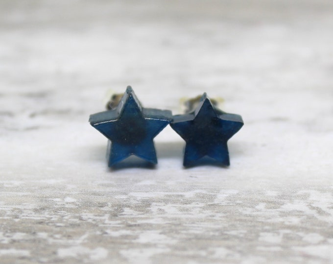 navy blue and gold star earrings with sterling silver posts