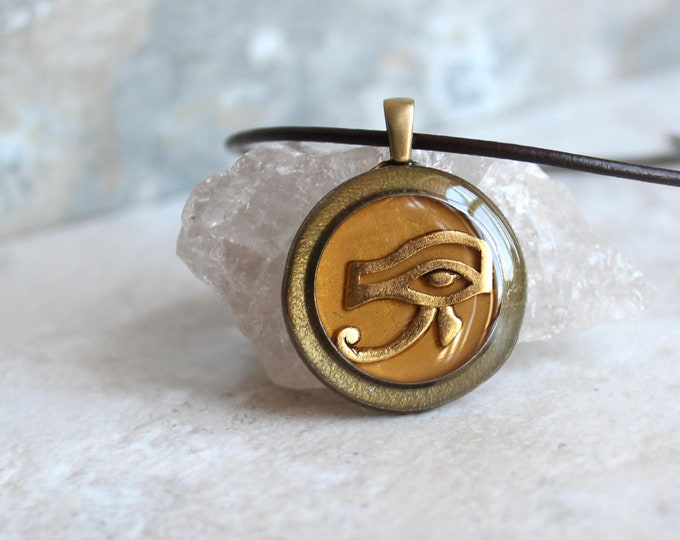 golden Eye of Horus necklace, eye of Ra jewelry, Egyptian pendant, mens jewelry, boyfriend gift, mens necklace, unique gift