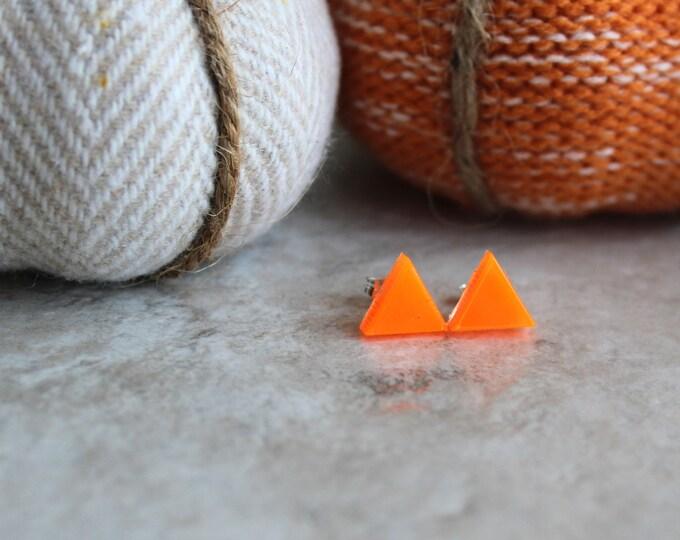 orange triangle earrings, glow in the dark, sterling silver post, stud earrings, geometric jewelry, minimalist jewelry, triangle jewelry