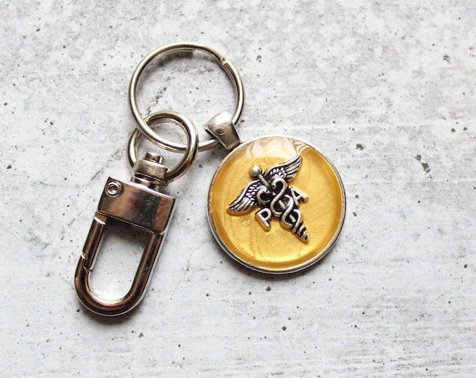 Physician assistant keychain, golden yellow, PA keyring, PA gift