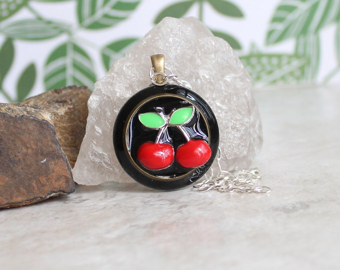 black cherry necklace, cherry jewelry, fruit necklace, nature necklace, unique gift, hippie jewelry, festival fashion, boho necklace