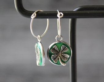 four leaf clover earrings on sterling silver hoop, good luck charm, unique gift, 4 leaf clover jewelry