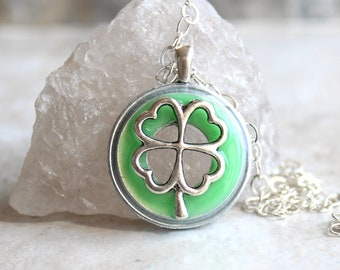 neon green four leaf clover necklace, mens jewelry, mens necklace, good luck charm, irish jewelry, unique gift, st patricks day, mens gift