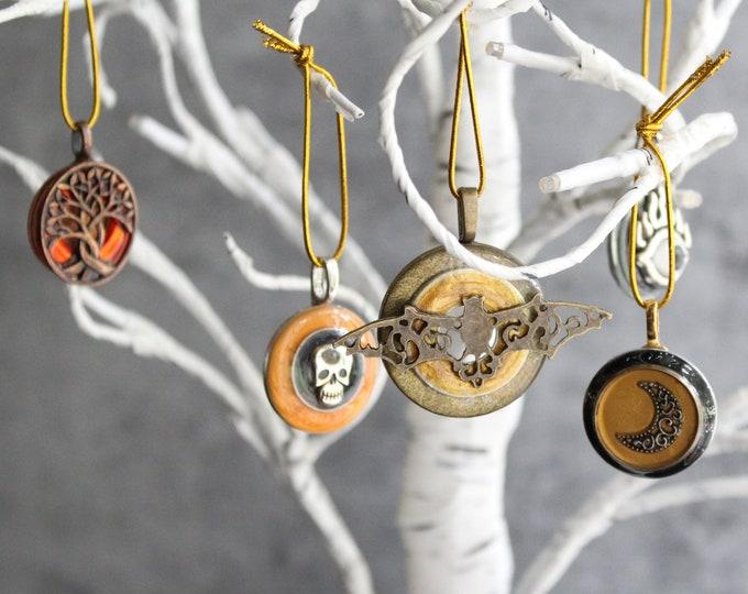 Halloween tree ornaments, set of 5, miniature tree, evil eye, spooky tree, crescent moon, skull ornament, bat ornament
