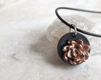 black and rose gold succulent necklace, nature necklace, floral jewelry, unique gift, concrete jewelry, wife gift