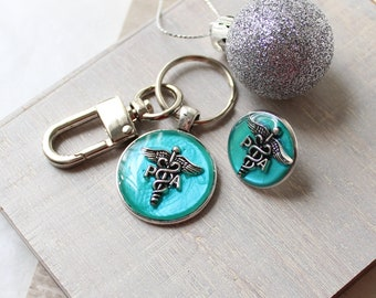Physician assistant pin gift set, aqua, PA pinning ceremony, PA keychain, PA pin