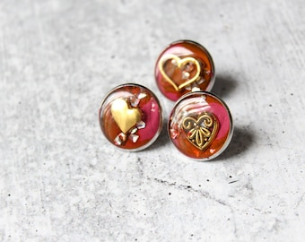 Valentine pin set, heart lapel pins, Valentine gift