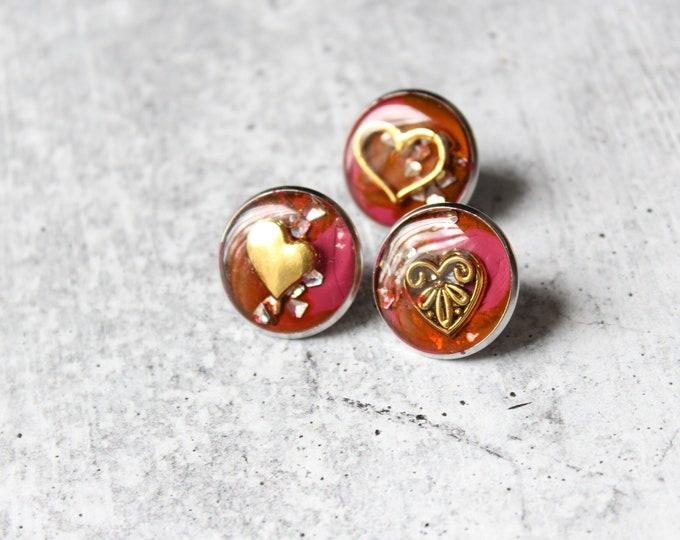Valentine pin set, heart lapel pins, Valentine gift