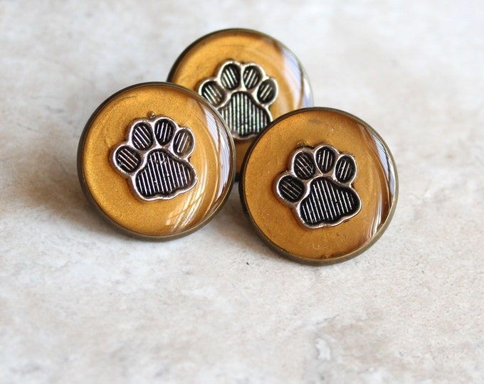 dark gold paw print pin, lapel pin, tie tack, dog paw, cat paw, animal paw, veterinarian pin, vet tech pin, unique gift, graduation gift