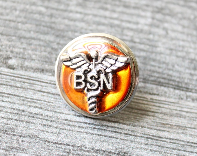 Bachelor of Science nursing pin, orange, BSN pinning ceremony, white coat ceremony