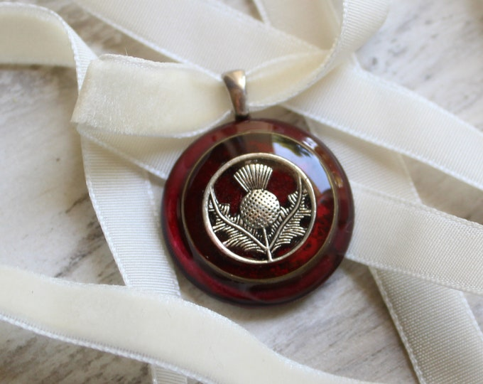 red Scottish thistle necklace on velvet ribbon