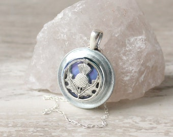 lavender Scottish thistle necklace on sterling silver chain