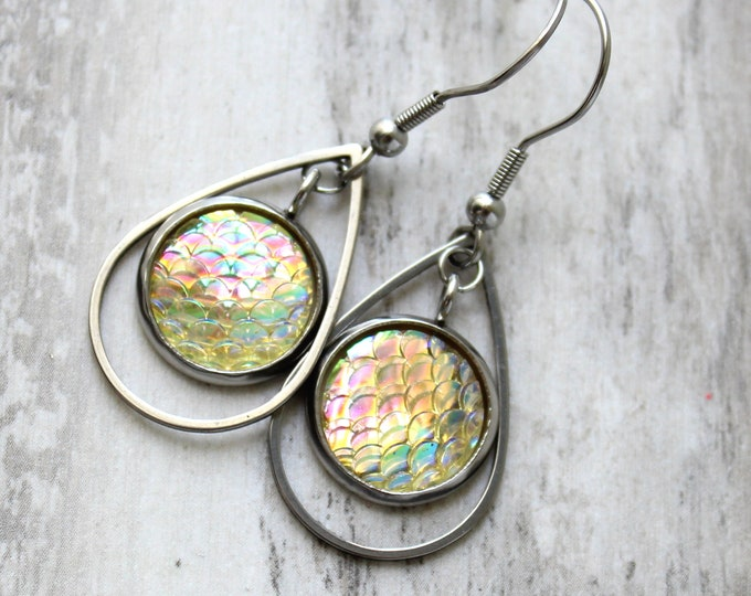 pale yellow mermaid scale earrings on stainless steel ear wires