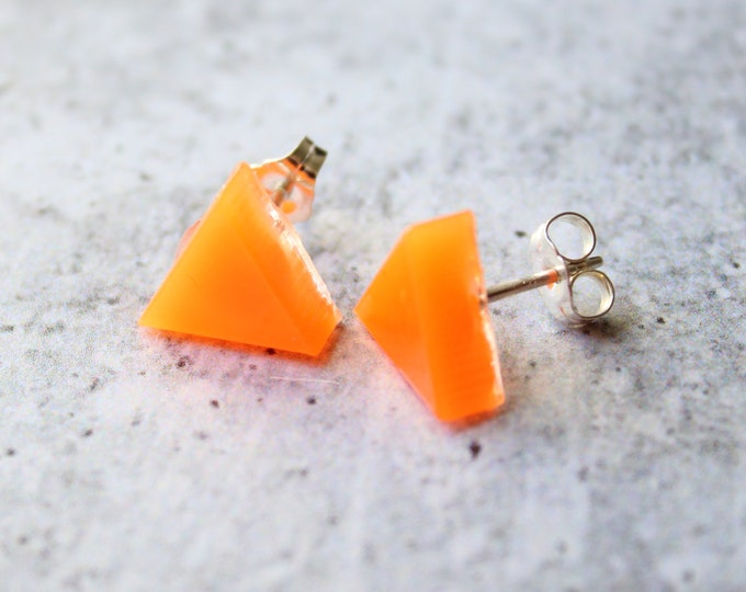 orange triangle earrings, glow in the dark with sterling silver posts, unique gift
