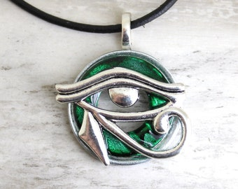 green Eye of Horus necklace, eye of Ra jewelry, mens jewelry