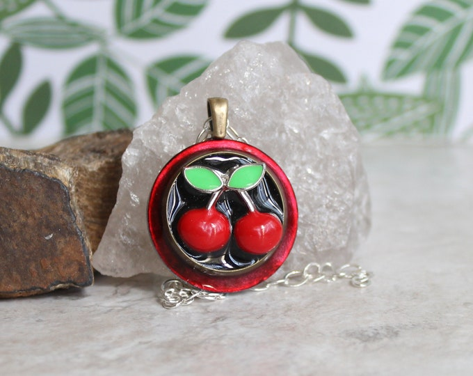 red cherry necklace, cherry jewelry, fruit necklace, nature necklace, unique gift, hippie jewelry, festival fashion, boho necklace