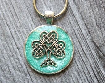 Shamrock keychain, bright green, nature keyring, unique gift, good luck charm, St. Patrick's Day