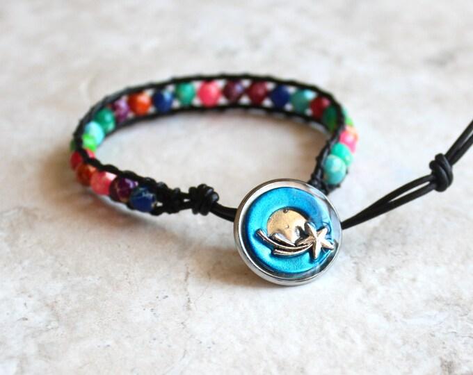 shooting star bracelet, impression jasper beaded bracelet, leather cord bracelet, outer space jewelry, unique gift