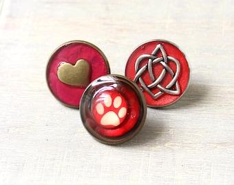 animal lover lapel pin gift set, set of 3, Valentine gift, paw print pin, heart pin, celtic heart pin