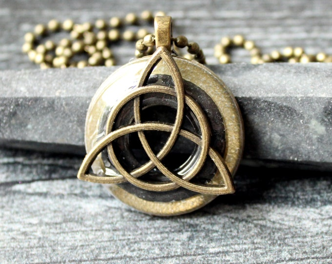 triquetra necklace, Celtic knot jewelry, mens Irish pendant, boyfriend gift, wiccan necklace, charcoal gray