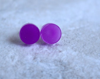 purple circle earrings, sterling silver post, glow in the dark, geometric jewelry, minimalist jewelry, unique gift, round earrings