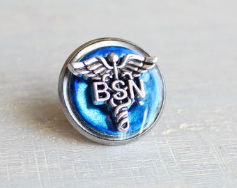 sky blue Bachelor of Science nursing pin, BSN pinning ceremony, nurse graduation gift, white coat ceremony