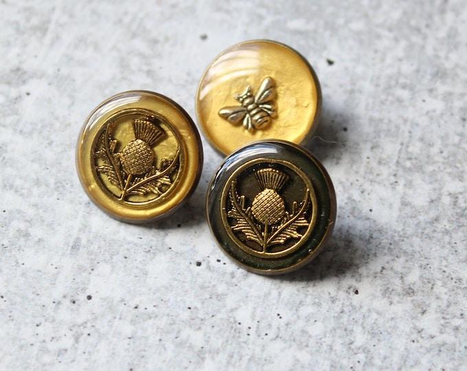 Scottish themed lapel pin, set of 3, bee pin, Scottish thistle pin, unique gift