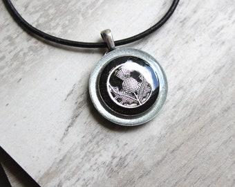 black Scottish thistle necklace, Scotland jewelry