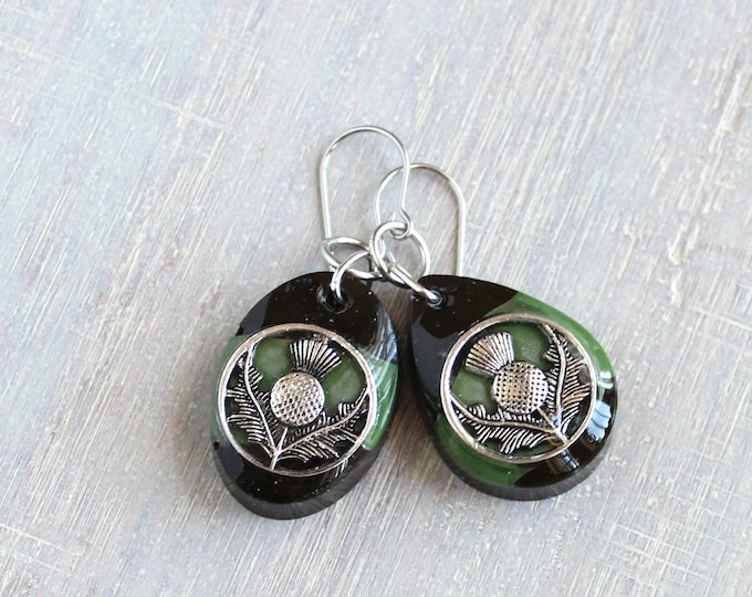 green and black Scottish thistle earrings, mismatched earrings, concrete jewelry, Scotland jewelry, unique gift, gift for her