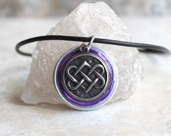 purple Celtic knot necklace, mens necklace, mens jewelry, druid necklace, unique gift, Celtic jewelry, Irish necklace, boyfriend gift