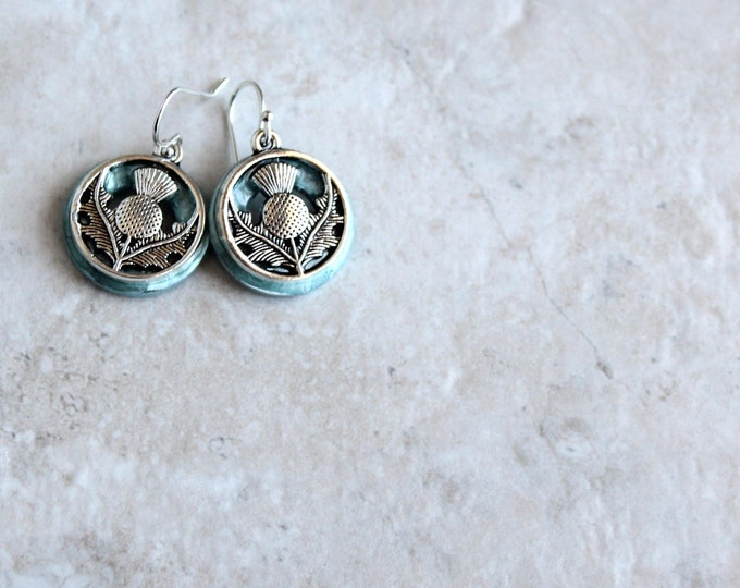 ice blue Scottish thistle earrings, floral earrings, Scottish jewelry, unique gift, nature jewelry, celtic jewelry, celtic earrings