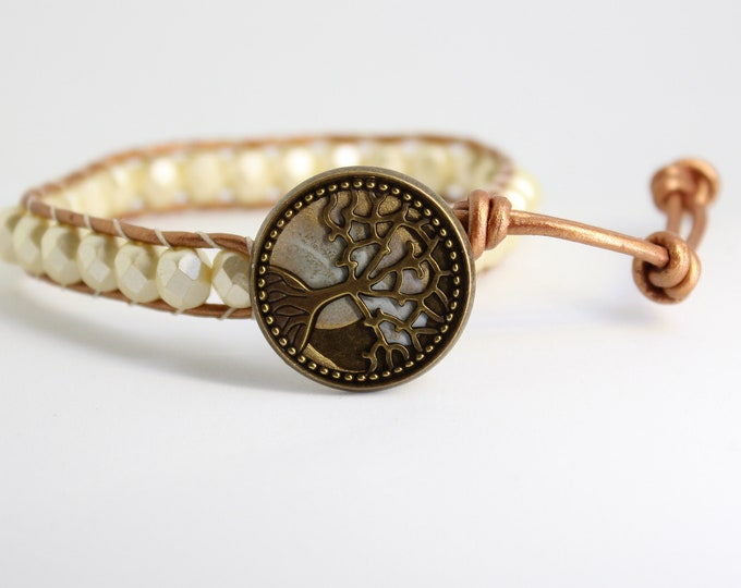 Tree of life bracelet with Czech glass beads and leather cord