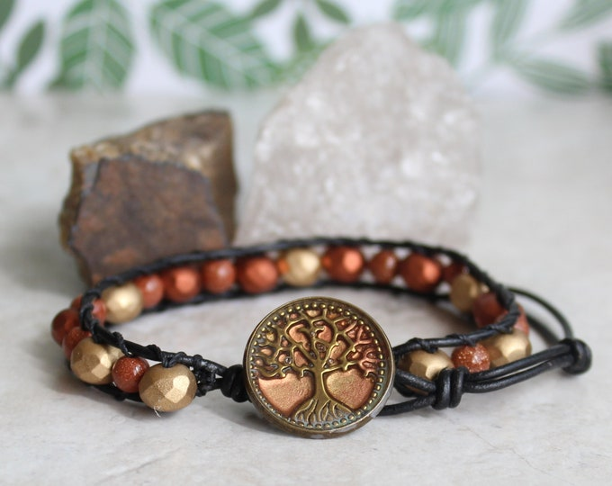 Tree of life bracelet, beaded bracelet, leather cord bracelet, mens bracelet, mens jewelry, wiccan jewelry, unique gift, ready to ship
