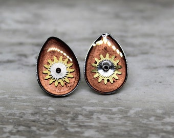steampunk watch gear earrings with stainless steel posts