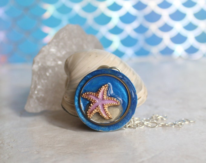 violet starfish necklace, beach themed jewelry, tropical fish, nature necklace, tide pool necklace, Bioluminescent beach, unique gift