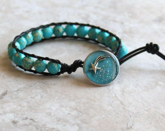 shooting star bracelet, glow in the dark bracelet, leather cord bracelet, outer space jewelry, unique gift