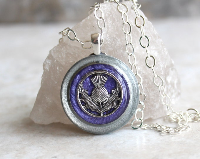 deep purple Scottish thistle necklace, Scotland jewelry, thistle pendant, unique gift, floral jewelry, Scottish wedding, Celtic jewelry