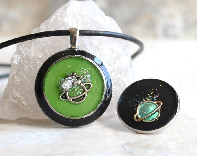 green planet gift set, outer space pendant, Saturn pin, lapel pin, galaxy necklace, celestial jewelry, Saturn necklace, unique gift