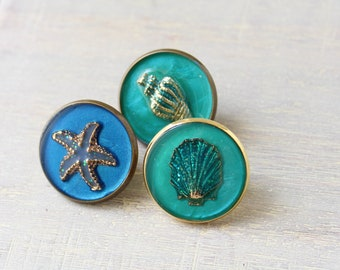 for the beachcomber, beach theme set of 3 lapel pins, seashell pins, unique gift, starfish pin, conch shell pin, scallop shell pin