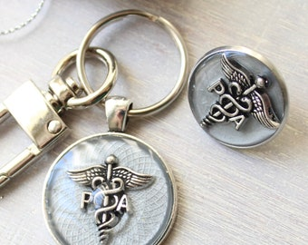 Physician assistant pin gift set, silver gray, PA pinning ceremony, PA keychain, PA pin